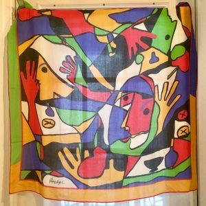 Patrick Stoffel Cubism Abstract Signed Scarf